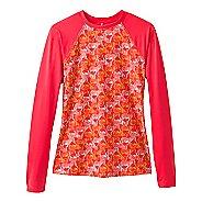 Womens Prana Charline Sun Long Sleeve Technical Tops - Carmine Pink Safari L