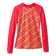 Womens Prana Charline Sun Long Sleeve Technical Tops - Carmine Pink Safari S