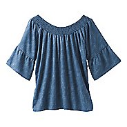 Womens Prana Chryssa Top Short Sleeve Technical Tops - Blue Sprinkle XL