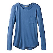 Womens Prana Foundation Crew Neck Long Sleeve Technical Tops - Blue Heather L