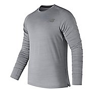 Mens New Balance Seasonless UPF Shirt Long Sleeve Technical Tops - Athletic Grey L