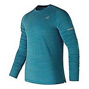 Mens New Balance Seasonless UPF Shirt Long Sleeve Technical Tops - Maldives Blue XL