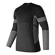 Mens New Balance Stretch Shirt Long Sleeve Technical Tops - Black L