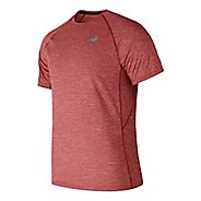 Mens New Balance Tenacity Shirt Short Sleeve Technical Tops - Red S