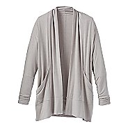 Womens Prana Foundation Wrap Long Sleeve Technical Tops - Light Grey Heather L