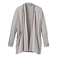 Womens Prana Foundation Wrap Long Sleeve Technical Tops - Light Grey Heather M
