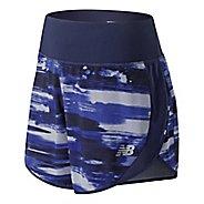 Womens New Balance 5 inch Printed Impact Unlined Shorts - Blue Iris XL