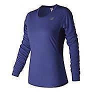 Womens New Balance Accelerate Shirt Long Sleeve Technical Tops - Blue Iris L