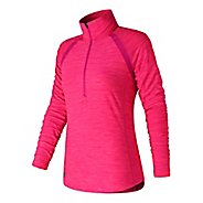 Womens New Balance Anticipate Half Zip & Hoodies Technical Tops - Pink Glo Heather XS