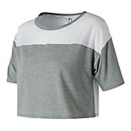 Womens New Balance Determination Crop Top Short Sleeve Technical Tops - Athletic Grey M