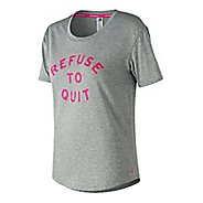 Womens New Balance Graphic Heather Tech Tee Short Sleeve Technical Tops - Heather Charcoal XXL
