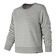 Womens New Balance Heathered French Terry Crew Short Sleeve Technical Tops - Water/Athletic Grey L