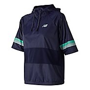 Womens New Balance NB Athletics Short Sleeve Windbreaker Pull Over Technical Tops