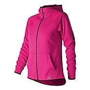 Womens New Balance NB Core Fleece Full Zip Casual Jackets - Pink Glo L