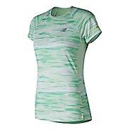 Womens New Balance NB Ice 2.0 Short Sleeve Printed Shirt Technical Tops - Sea Foam L