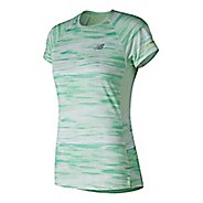Womens New Balance NB Ice 2.0 Short Sleeve Printed Shirt Technical Tops - Sea Foam S
