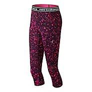 Womens New Balance Pink Ribbon Printed Accelerate Capris Pants - Pink Glo L