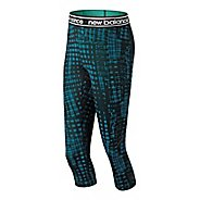 Womens New Balance Printed Accelerate Capris Pants - Lake Blue S