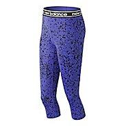 Womens New Balance Printed Accelerate Capris Pants - Blue Iris L