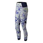 Womens New Balance Printed Evolve Tights & Leggings Pants - White Multi S