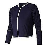 Womens New Balance Q Speed Crop Running Jackets - Blue Pigment L