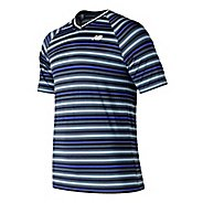 Mens New Balance Tournament V-Neck Shirt Short Sleeve Technical Tops - Blue Pigment XXL