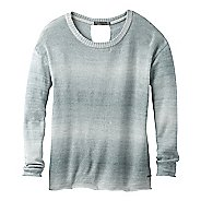 Womens Prana Nightingale Sweater Long Sleeve Technical Tops - Starling Green XL