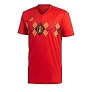 Mens adidas Belgium Home Jersey Short Sleeve Technical Tops - Red/Red/Gold XXL