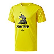 Mens adidas Boston Marathon Qualifier T-Shirt Short Sleeve Technical Tops - Yellow XL
