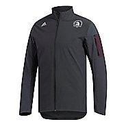 Mens adidas Boston Marathon Supernova Storm Rain Jackets - Carbon/Noble Red L