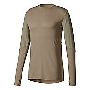 Mens adidas Climaheat Workout Top Long Sleeve Technical Tops - Trace Cargo M