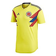 Mens adidas Colombia Home Authentic Jersey Short Sleeve Technical Tops - Yellow/Navy S