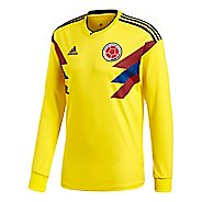 Mens adidas Colombia Home Replica Jersey Long Sleeve Technical Tops - Yellow/Navy XL