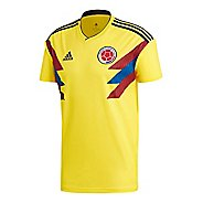 Mens adidas Colombia Home Replica Jersey Short Sleeve Technical Tops - Yellow/Navy XXL