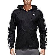 Mens adidas Essentials 3-Stripes Wind Rain Jackets - Black/Black L