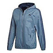 Mens adidas Essentials 3-Stripes Wind Rain Jackets - Steel/Navy S