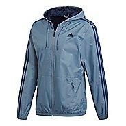 Mens adidas Essentials 3-Stripes Wind Rain Jackets - Steel/Navy XL