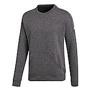 Mens adidas ID Stadium Crewneck Sweatshirt Long Sleeve Technical Tops - Stadium Heather L