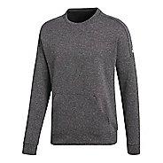 Mens adidas ID Stadium Crewneck Sweatshirt Long Sleeve Technical Tops - Stadium Heather S