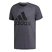 Mens adidas Logo T-Shirt Short Sleeve Technical Tops - Grey Heather/Black 4XL-T