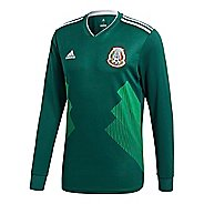 Mens adidas Mexico Home Replica Jersey Long Sleeve Technical Tops - Green/White M