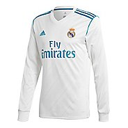 Mens adidas Real Madrid Home Replica Jersey Long Sleeve Technical Tops - White/Vivid Teal XL
