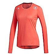 Womens adidas Boston Marathon Supernova T-Shirt Long Sleeve Technical Tops - Real Coral XS