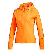 Womens adidas Response Hooded Wind Rain Jackets - Hi-Res Orange M