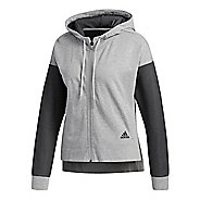 Womens adidas Sport ID Full Zip Half-Zips & Hoodies Technical Tops - Medium Grey Heather M