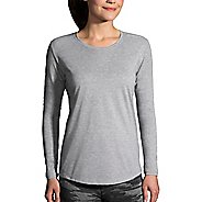 Womens Brooks Distance Long Sleeve Technical Tops - Heather Sterling XS