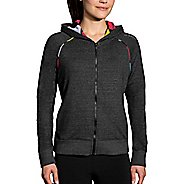 Womens Brooks Revival Half-Zips & Hoodies Technical Tops - Heather Black XS
