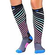 Zensah Power Stripes Compression Socks - Grey/Blue/Pink L