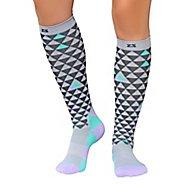 Zensah Triangles Compression Socks - Black/Mint/Lilac S