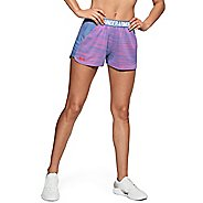 Womens Under Armour Play Up Short 2.0 Novelty Unlined Shorts - Blue/Neon Coral XS